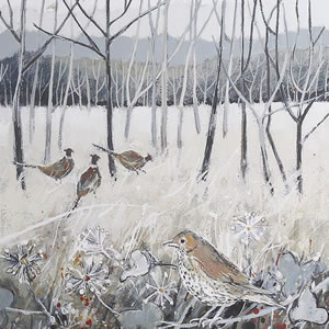 Birds in Oak Woodlands – Framed Art Print – Painting of Pheasants and Mistle Thrush – Surrounds West Byfleet Surrey