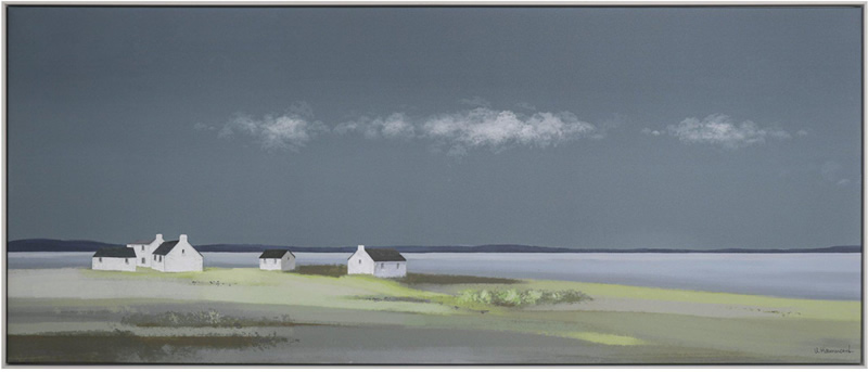 Art Gallery - Days End Cottages Sunset Painting by Artist Ulyana Hammond- Framed Print For Sale