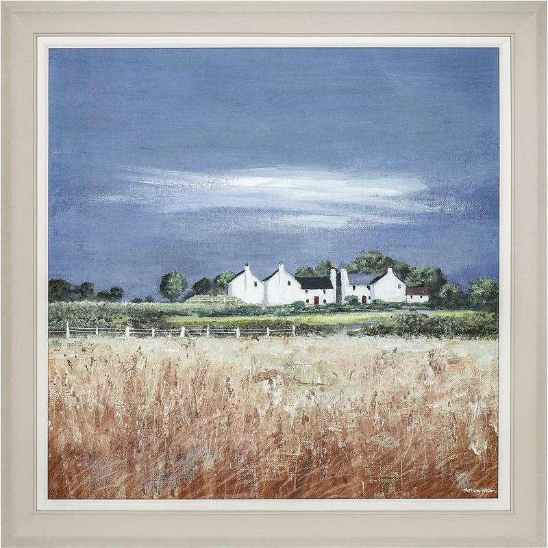 Art Gallery - Fields Of Gold Countryside Painting by Artist Anthony Waller - Framed Print For Sale