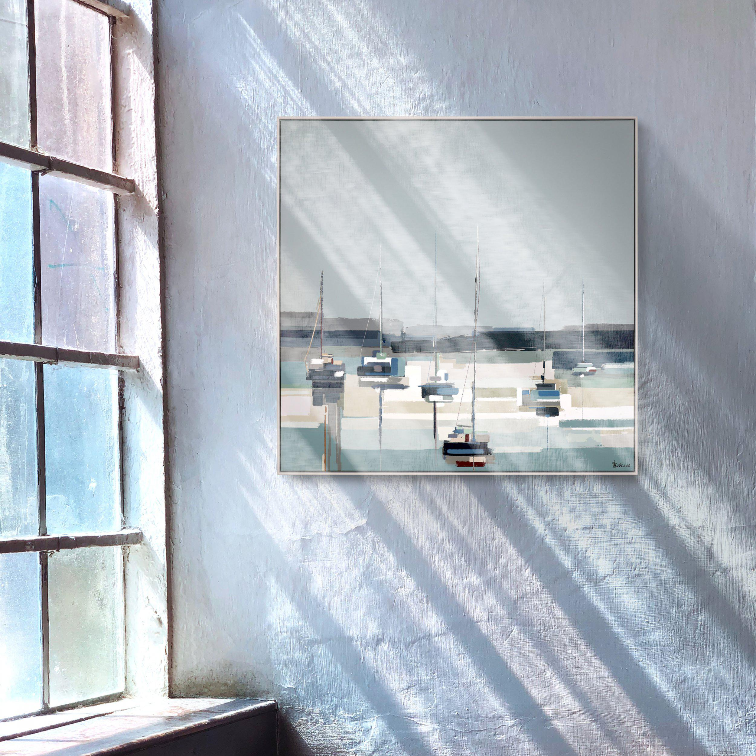 Art Gallery - Harbour Reflections Painting by Artist Sabrina Roscino - Framed Print For Sale - Room Display