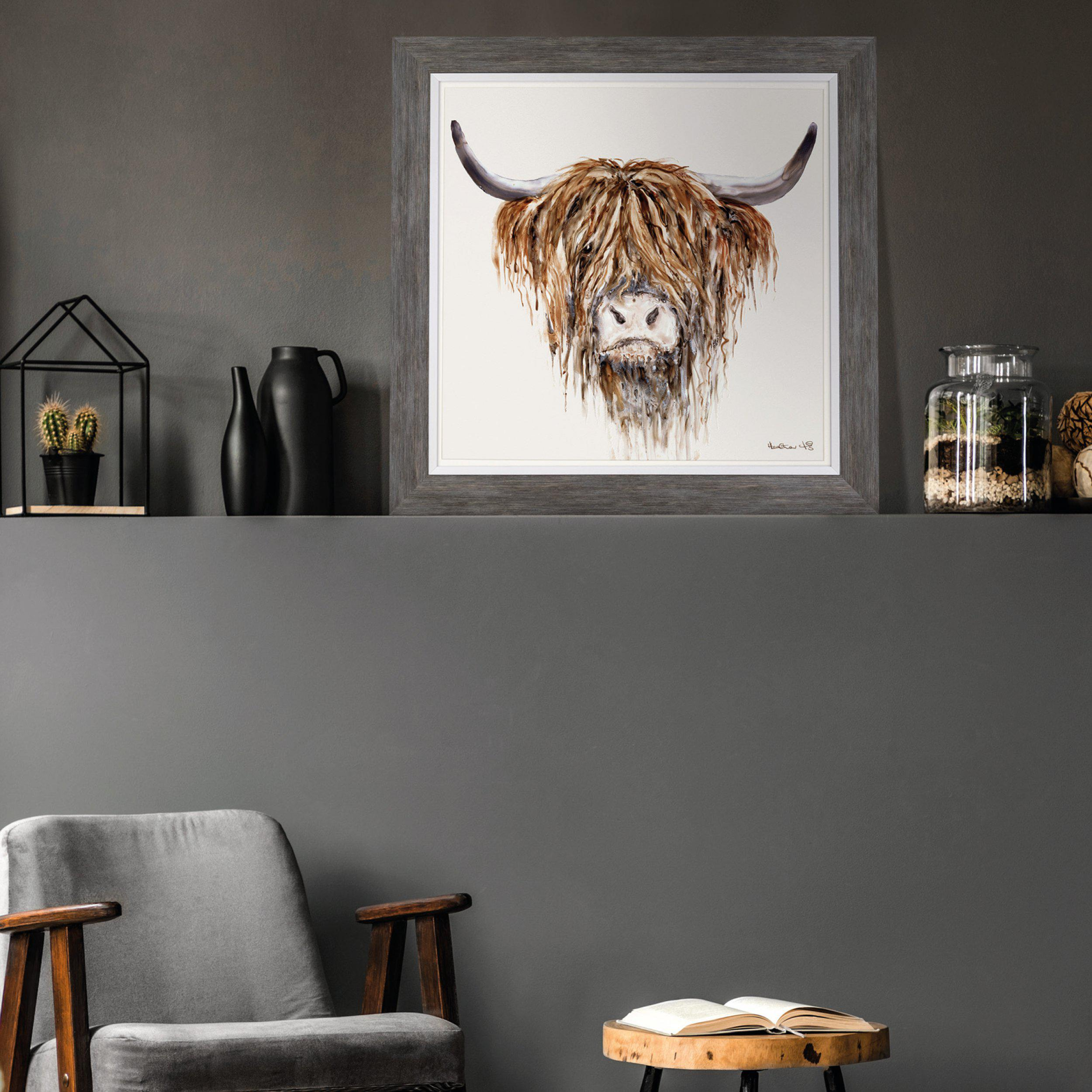 Art Gallery - Highland Cattle Painting - Freddie - Artist Heather Fitz - Large Framed Print For Sale - Room Display