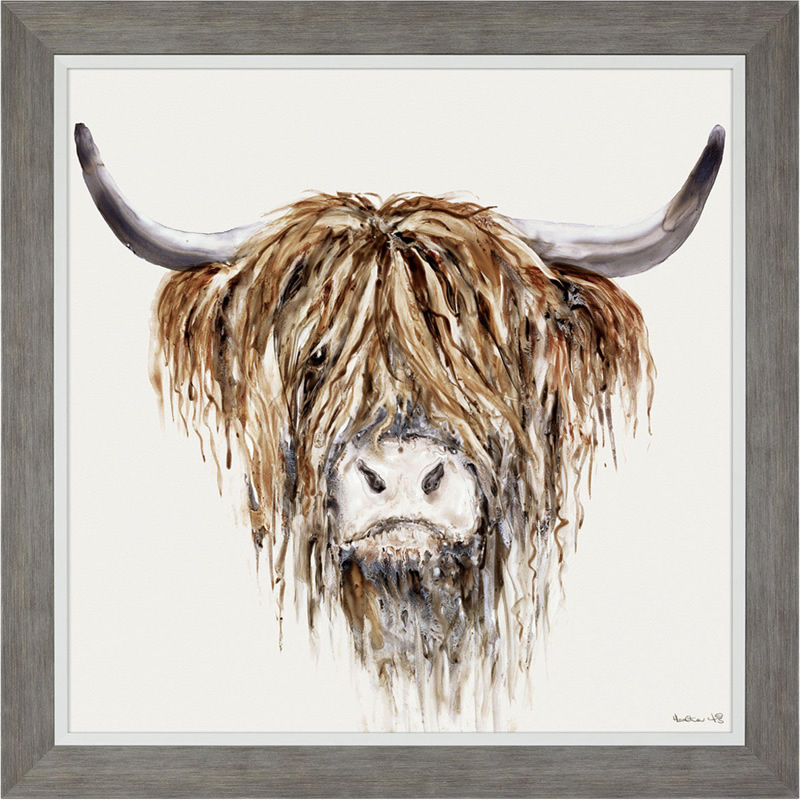 Art Gallery - Highland Cattle Painting - Freddie - Artist Heather Fitz - Large Framed Print For Sale