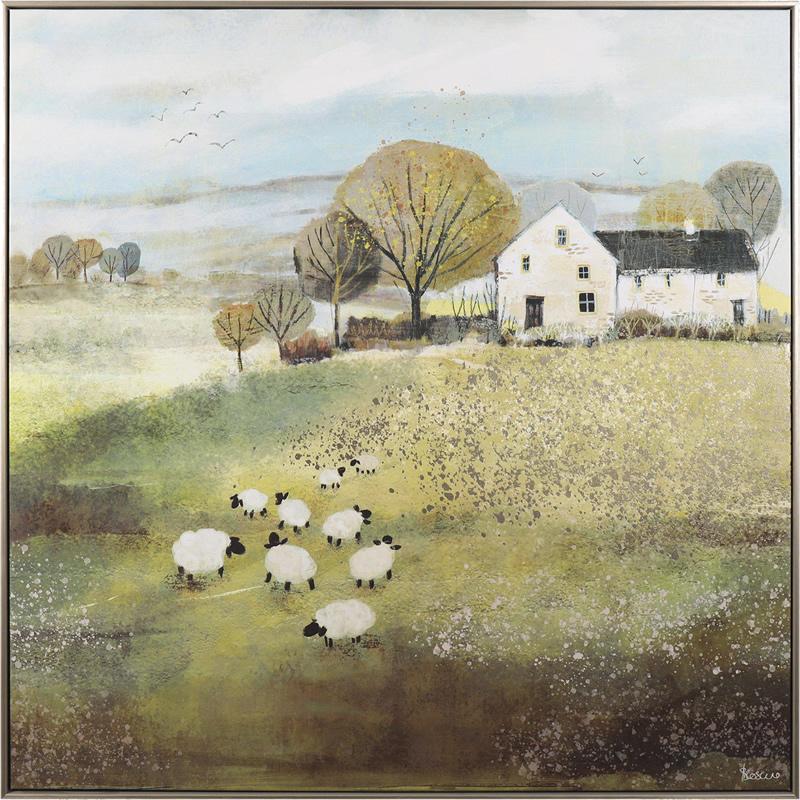 Art Gallery - Home Farm - Sheep Flock Painting - Artist Sabrina Roscino - Framed Print For Sale