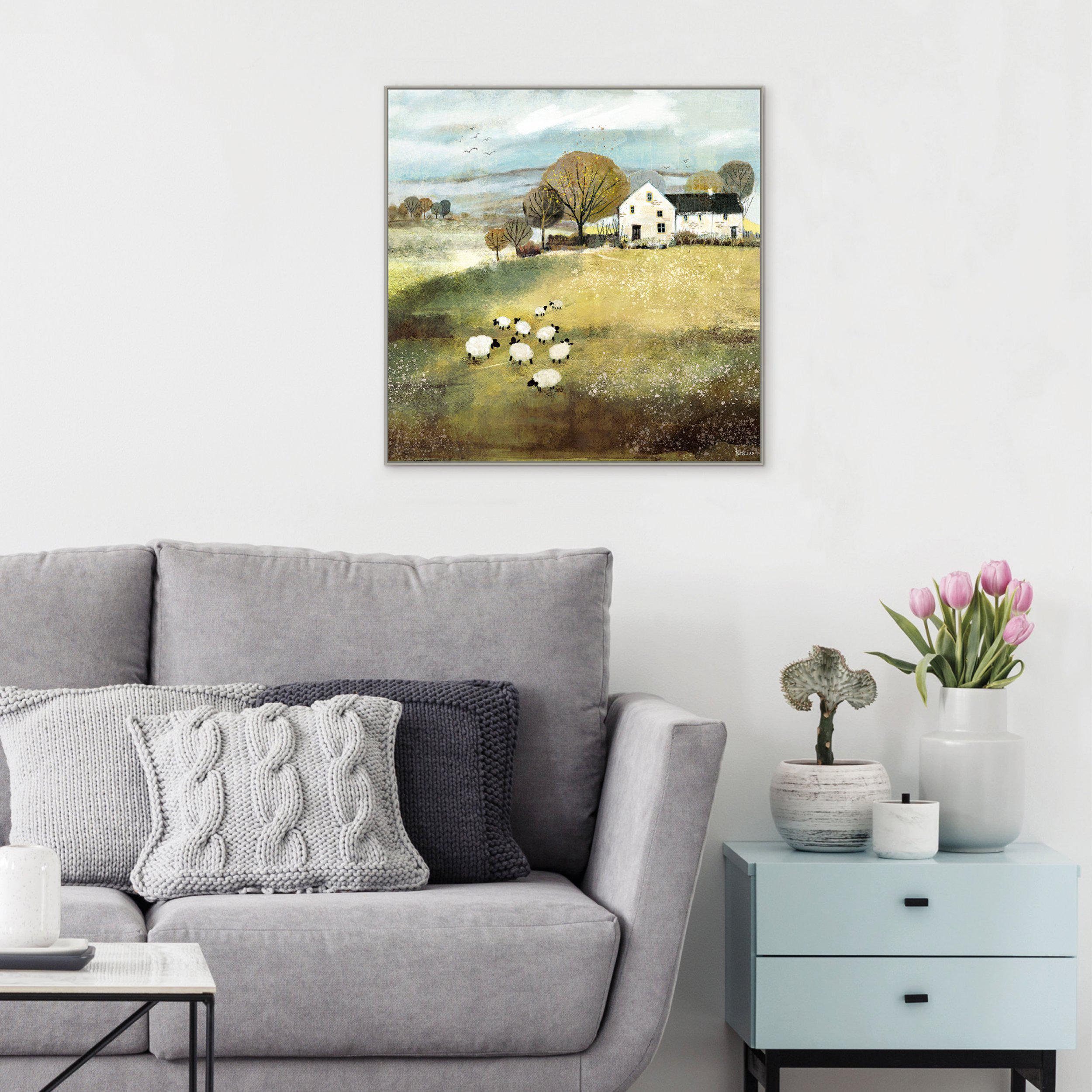 Art Gallery - Home Farm - Sheep Flock Painting - Artist Sabrina Roscino - Framed Print For Sale - Room Display