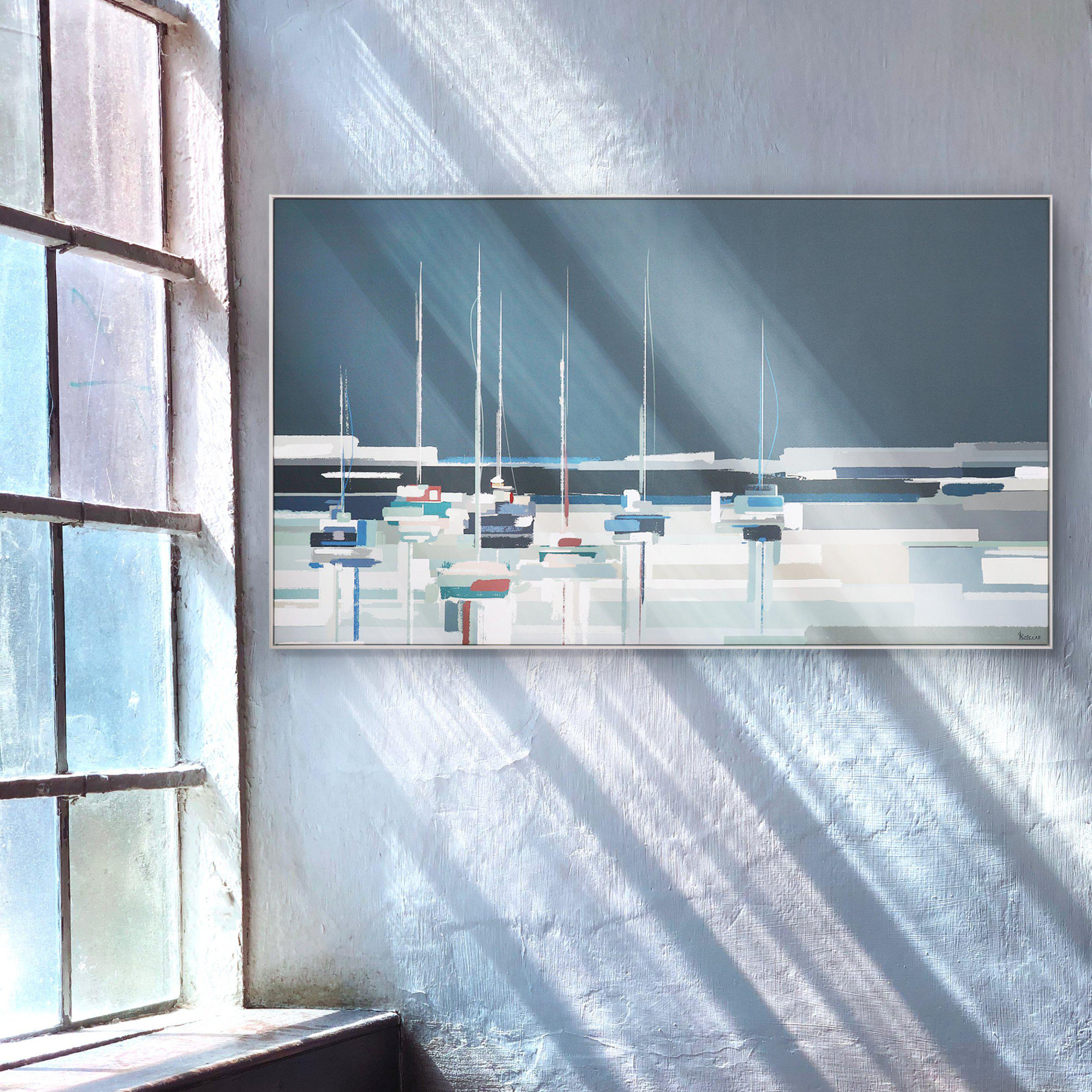 Art Gallery - Moored Boats Painting by Artist Sabrina Roscino - Framed Print For Sale - Room Display