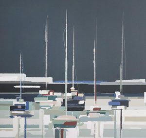 Art Gallery – Moored Boats Painting by Artist Sabrina Roscino – Framed Print For Sale – Surrounds Surrey