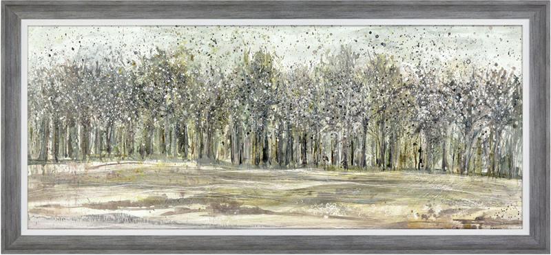 Art Gallery - Shadow Grey Woodlands - Trees Painting - Artist Ulyana Hammond - Framed Print For Sale