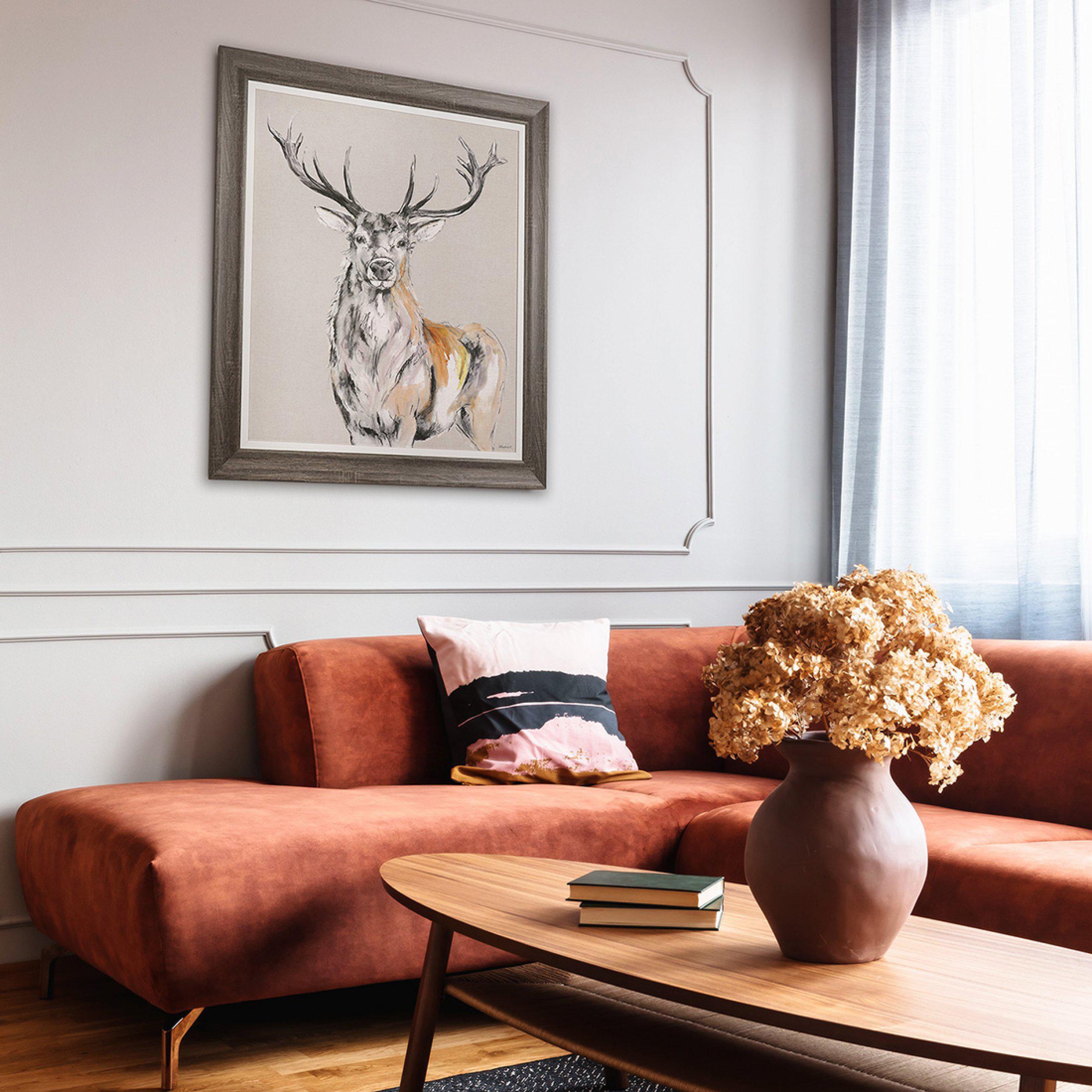 Art Gallery - Stag Standing Proud Painting by Artist Gracie Tapner - Framed Print For Sale - Room Display