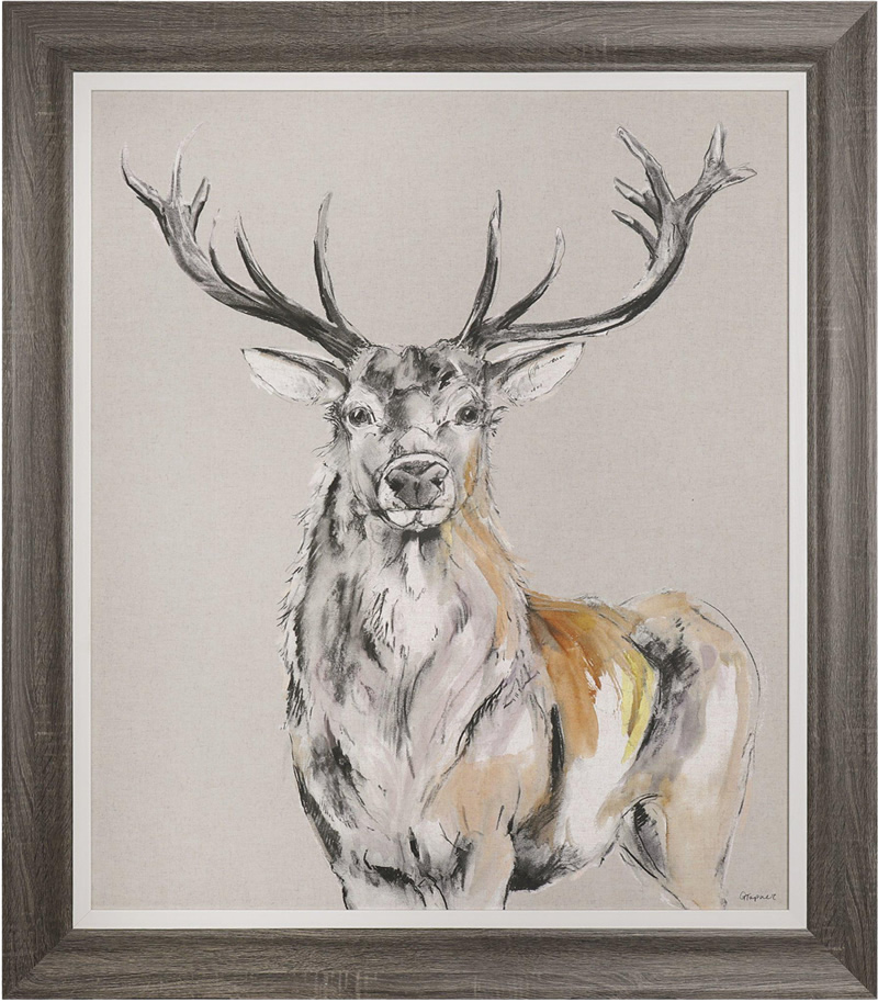 Art Gallery - Stag Standing Proud Painting by Artist Gracie Tapner - Framed Print For Sale - Surrounds Surrey