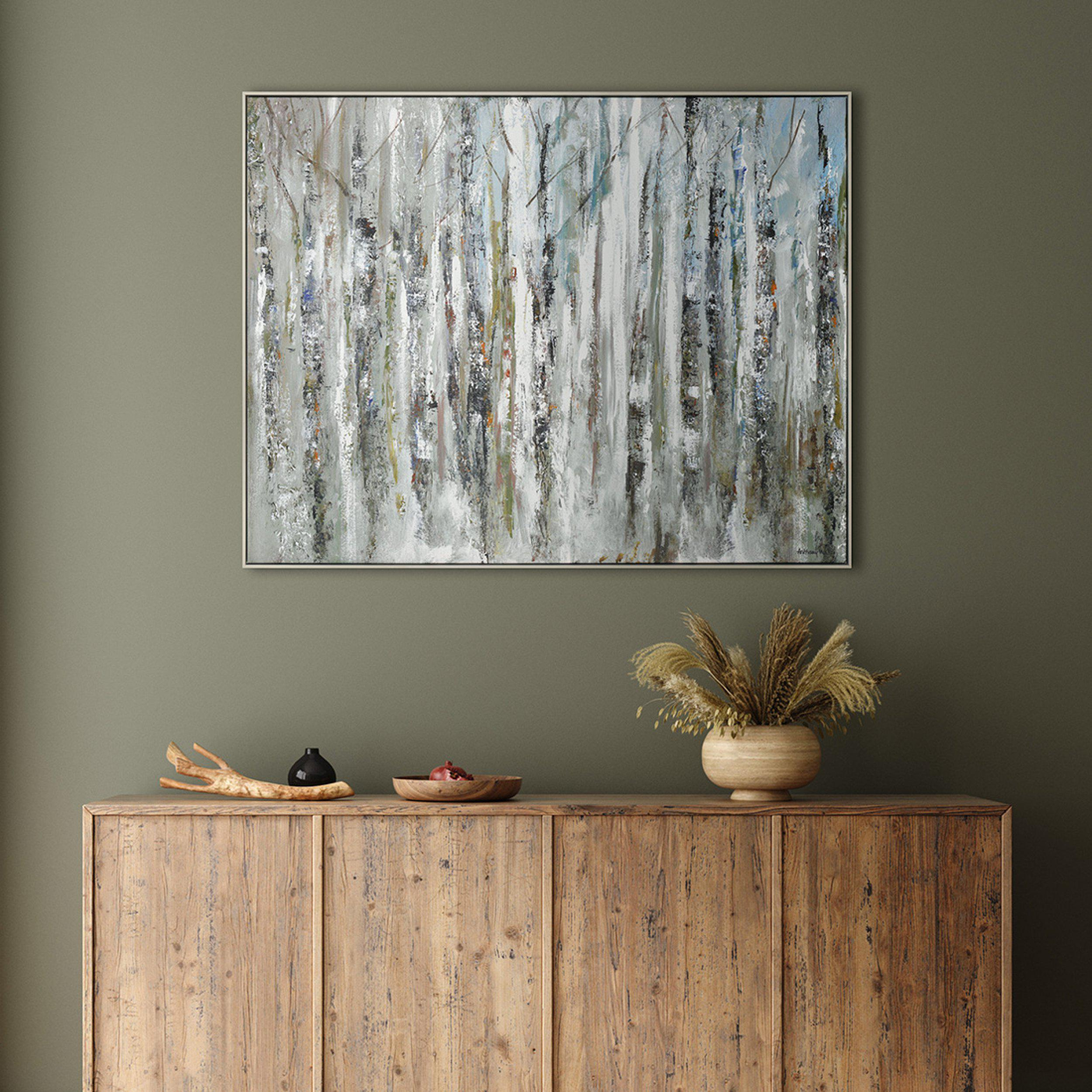 Art Gallery - Sunlit Birch Tree Forest Painting by Artist Anthony Waller - Framed Print For Sale - Room Display