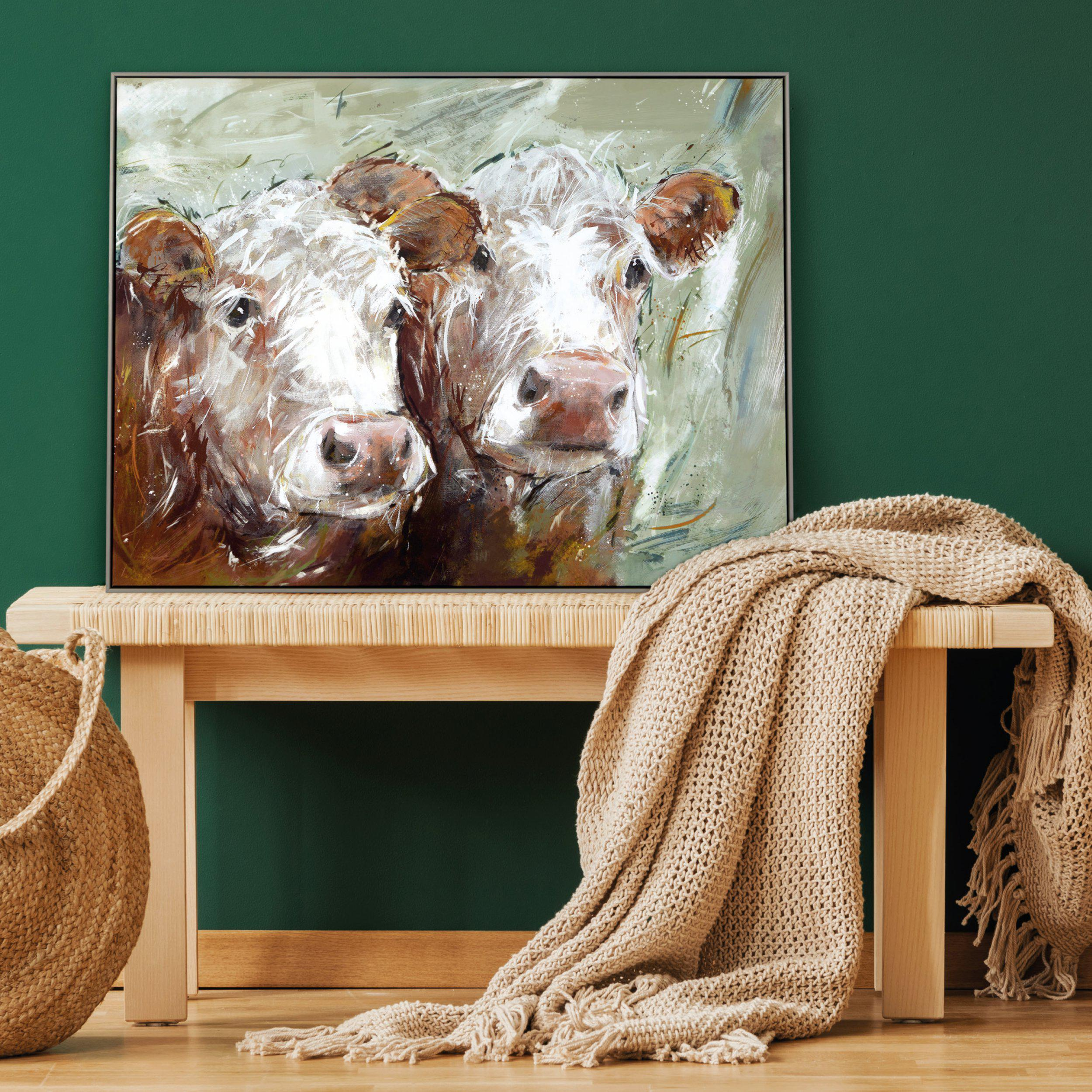 Art Gallery - Two Amigos - Cows Painting - Artist Adelene Fletcher - Framed Print - Surrounds West Byfleet