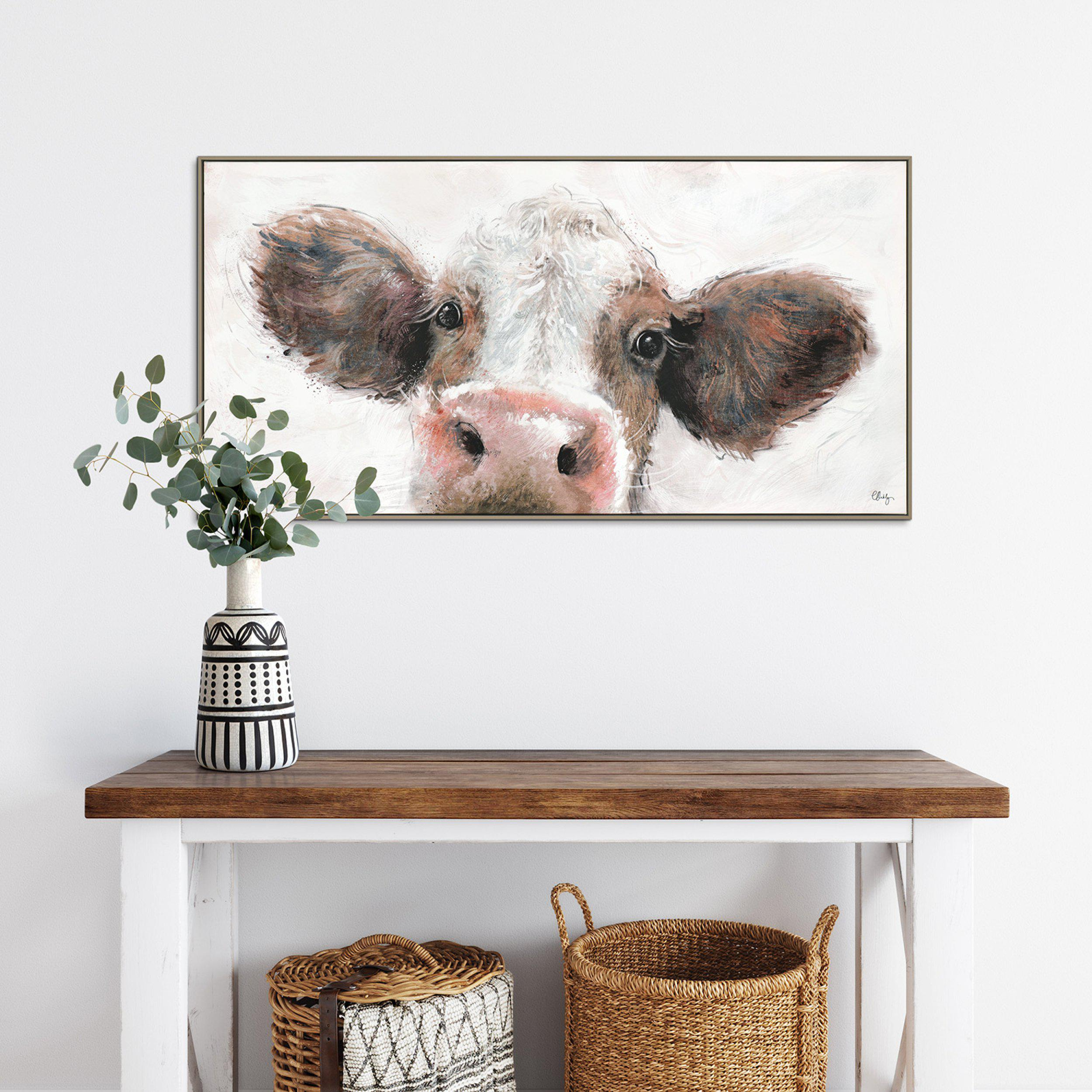 Cow Painting by Artist Charlotte Oakley - Framed Print For Sale - Room Display