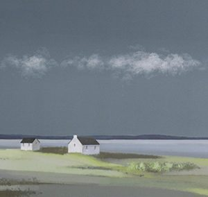 Art Gallery – Days End Cottages Sunset Painting by Artist Ulyana Hammond- Framed Print For Sale