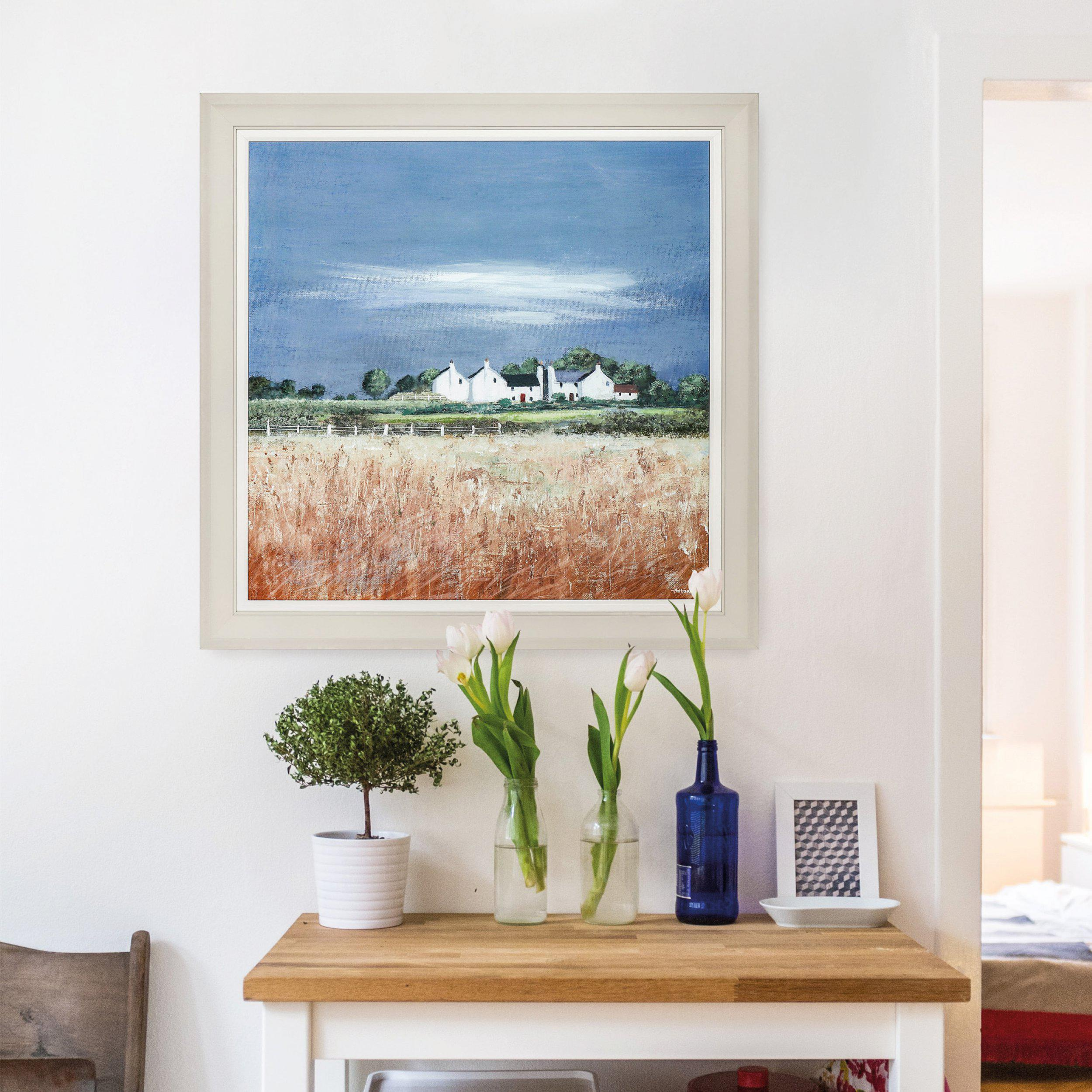 Fields Of Gold Painting by Artist Anthony Waller - Framed Print For Sale - Room Display