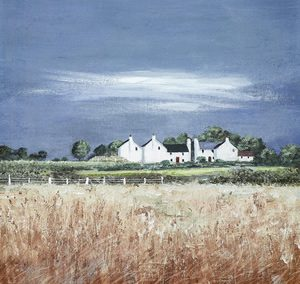 Art Gallery – Fields Of Gold Countryside Painting by Artist Anthony Waller – Framed Print For Sale