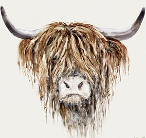 Art Gallery – Highland Cattle Painting – Freddie – Artist Heather Fitz – Large Framed Print For Sale