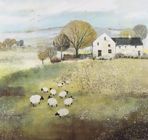 Art Gallery – Home Farm – Sheep Flock Painting – Artist Sabrina Roscino – Framed Print For Sale – Surrounds West Byfleet Surrey