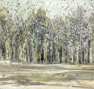 Art Gallery – Shadow Grey Woodlands – Trees Painting – Artist Ulyana Hammond – Framed Print For Sale