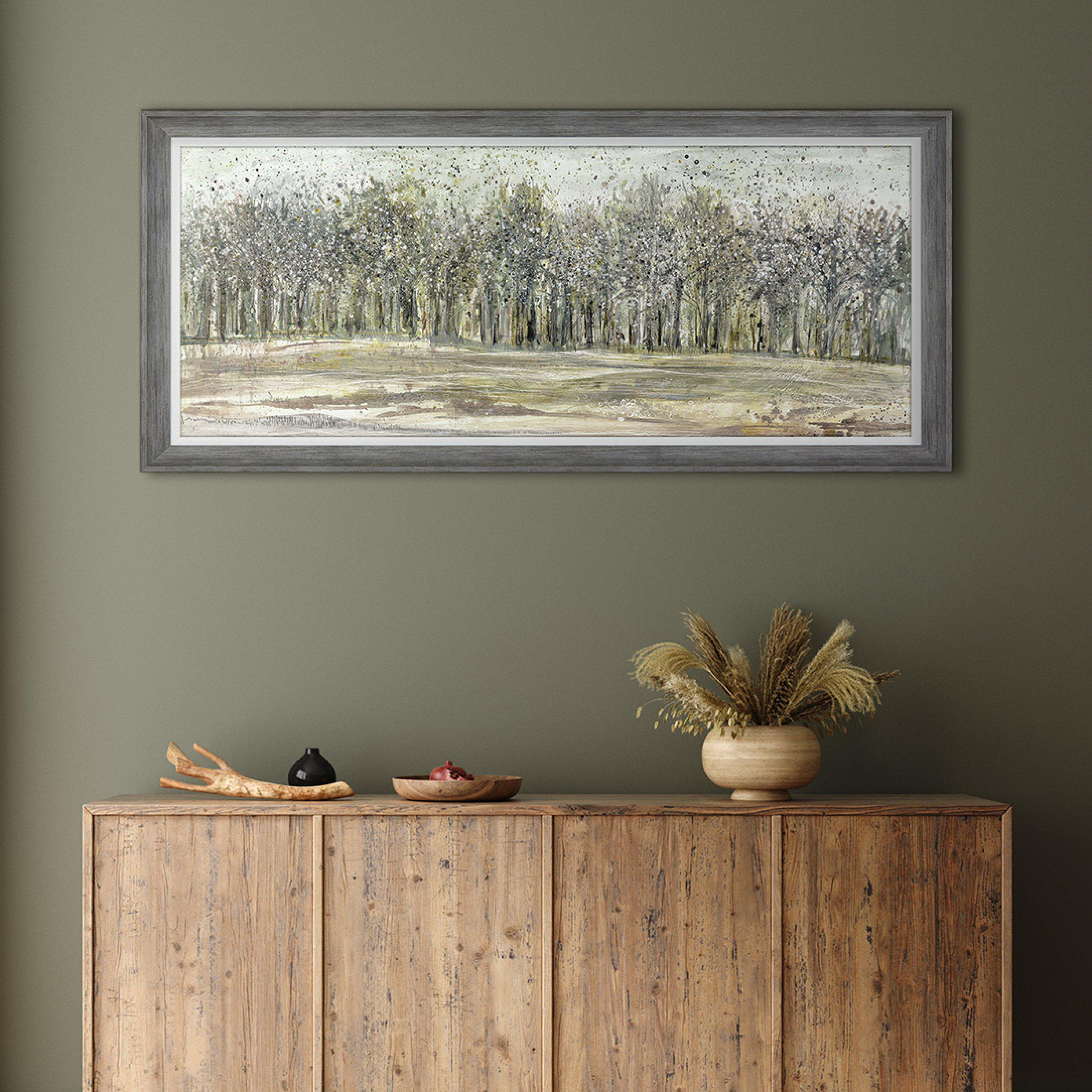 Shadow Grey Woodlands - Trees Painting - Artist Ulyana Hammond - Framed Print For Sale - Room Display