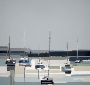 Art Gallery – Harbour Reflections Painting by Artist Sabrina Roscino – Framed Print For Sale – Surrounds West Byfleet Surrey