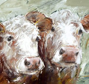 Art Gallery – Two Amigos – Cows Painting – Artist Adelene Fletcher – Framed Print For Sale – Surrounds West Byfleet Surrey