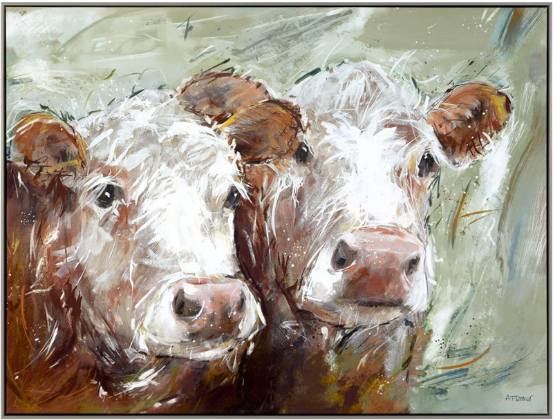 Two Amigos - Cows Painting - Artist Adelene Fletcher - Framed Print For Sale - Surrounds Surrey