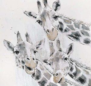 Wall Art Gallery – Leaning Tower – Giraffes Painting by Artist Adelene Fletcher – Framed Print For Sale
