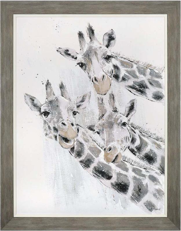 Wall Art Gallery - Leaning Tower - Giraffes Painting by Artist Adelene Fletcher - Framed Print For Sale