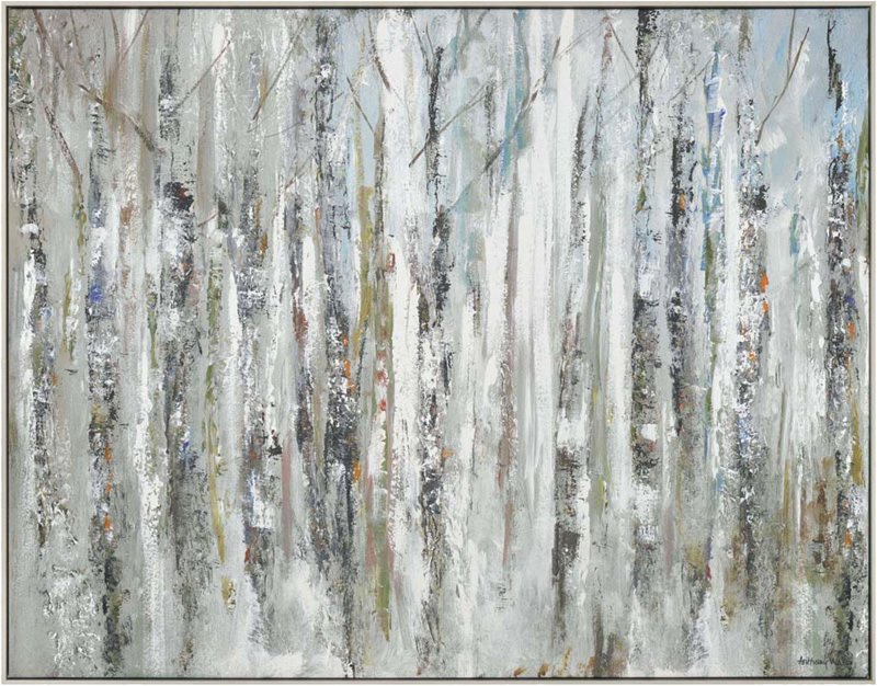 Wall Art Gallery - Sunlit Birch Trees - Woodland Painting by Artist Anthony Waller - Framed Print For Sale