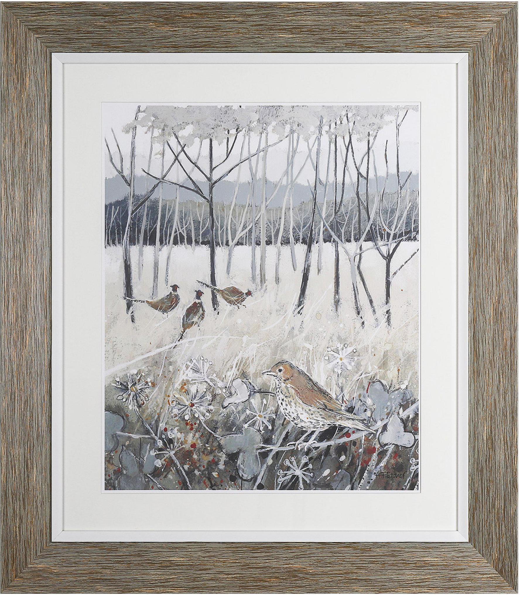 Birds in Oak Woodlands - Framed Art Print - Painting of Pheasants and Mistle Thrush - Surrounds West Byfleet Surrey