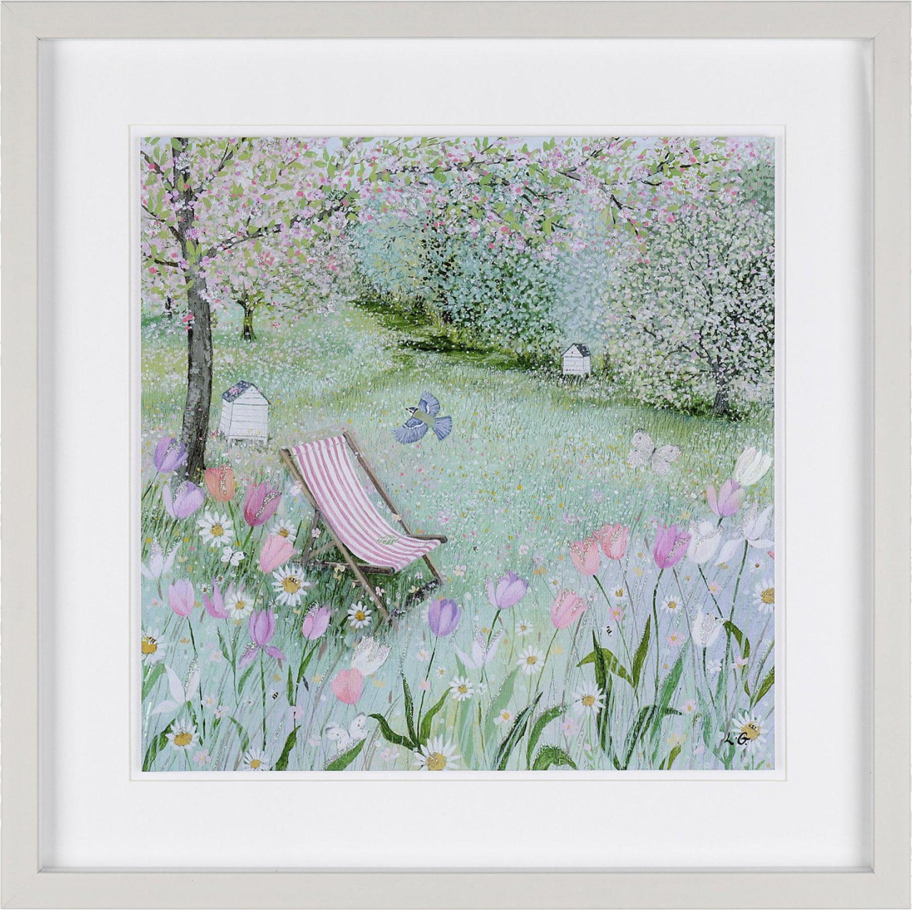 Garden Framed Art Print For Sale - Quiet Place - Deck Chair - Surrounds Gallery West Byfleet Surrey