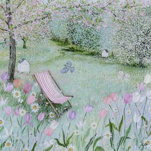 Spring Garden Framed Art Print For Sale – Quiet Place – Deck Chair – Surrounds Gallery West Byfleet Surrey